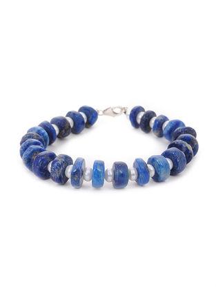 Lapis Lazuli Silver Bracelet with Fresh Water Pearls