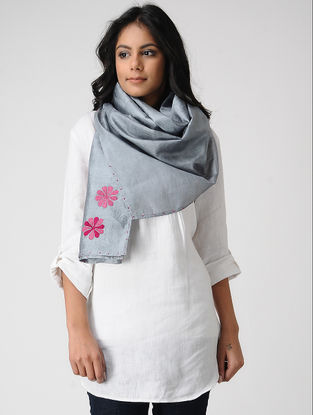 Grey-Pink Hand-embroidered Kosa Silk Stole