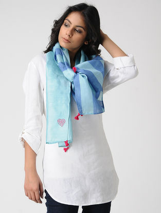 Blue-Pink Kantha-embroidered Kosa Silk Stole with Tassels
