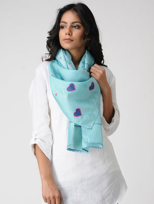 Blue-Pink Hand-embroidered Kosa Silk Stole