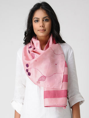 Pink-Purple Hand-embroidered Kosa Silk Stole
