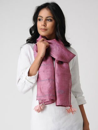 Pink-Grey Hand-embroidered Kosa Silk Stole with Tassel