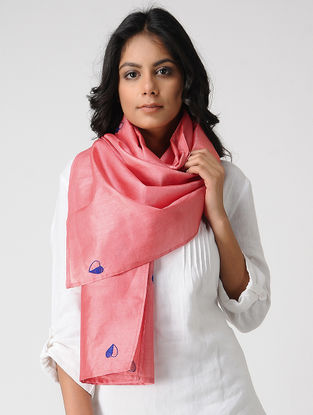 Pink-Blue Hand-embroidered Kosa Silk Stole