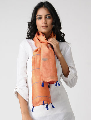 Orange-Blue Hand-embroidered Kosa Silk Stole with Tassels