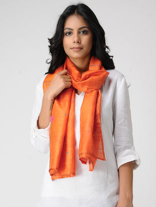 Orange-Pink Hand-embroidered Kosa Silk Stole