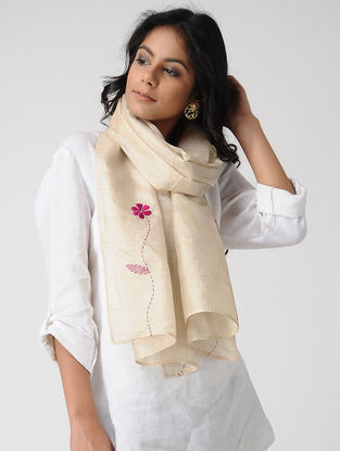 Ivory-Pink Hand-embroidered Kosa Silk Stole