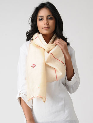 Ivory-Red Hand-embroidered Kosa Silk Stole