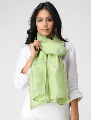Green-Pink Hand-embroidered Kosa Silk Stole