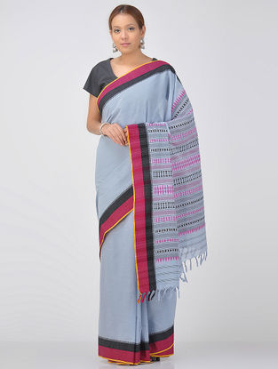 Blue-Pink Cotton Saree