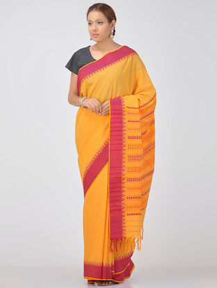 Orange-Red Cotton Saree