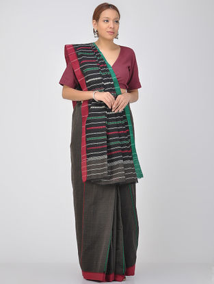Black-Green Cotton Saree