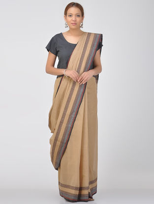 Beige-Black Cotton Saree with Woven Border