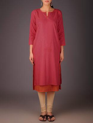 Red-Orange Cotton Layered Kurta