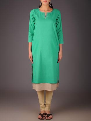 Green-Beige Cotton Layered Kurta