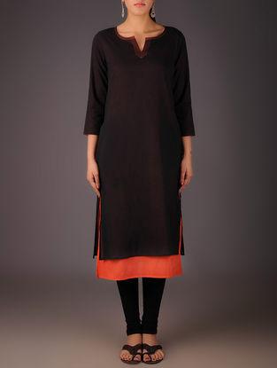 Black-Orange Cotton Layered Kurta