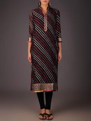 Black-Golden Maheshwari Leheriya Gota Embellished Kurta with Lining