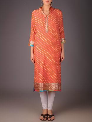 Orange-Golden Maheshwari Leheriya Gota Embellished Kurta with Lining