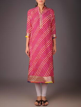 Fuschia-Golden Maheshwari Leheriya Gota Embellished Kurta with Lining