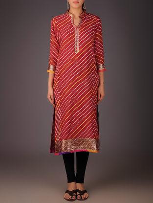Red-Golden Maheshwari Leheriya Gota Embellished Kurta with Lining