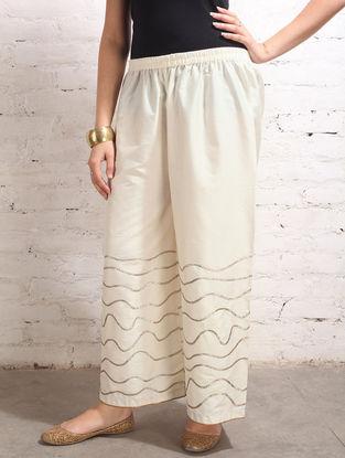 White Gota Work Cotton-Silk Palazzos