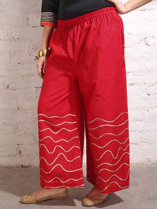 Red Gota Work Cotton-Silk Palazzos
