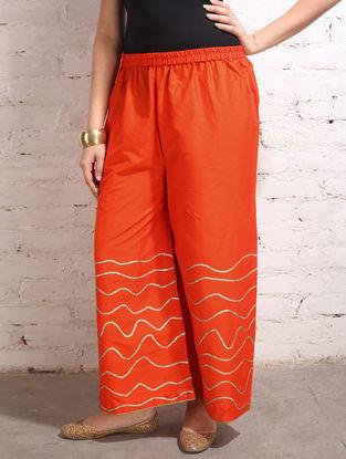 Orange Gota Work Cotton-Silk Palazzos