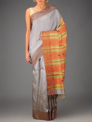 Grey-Orange-Lime Tussar Dupion Silk Handwoven Saree