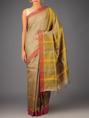 Beige-Red Tussar Dupion Silk Handwoven Saree