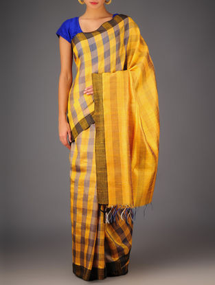 Yellow-Grey Tussar Dupion Silk Handwoven Saree
