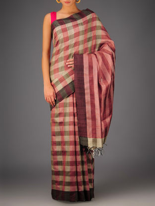 Maroon-Pink-Beige Tussar Dupion Silk Handwoven Saree