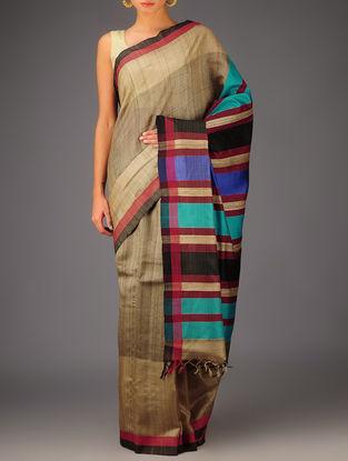 Blue-Beige-Red Tussar Dupion Silk Handwoven Saree