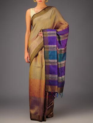 Rust-Purple Tussar Dupion Silk Handwoven Saree