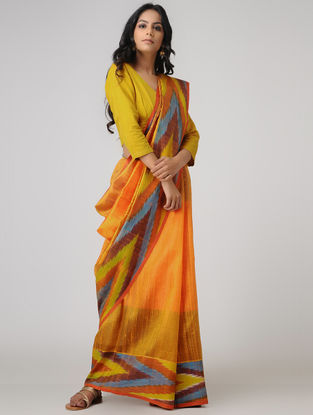 Orange-Yellow Ghicha Tussar Dupion Silk Bhagalpuri Saree