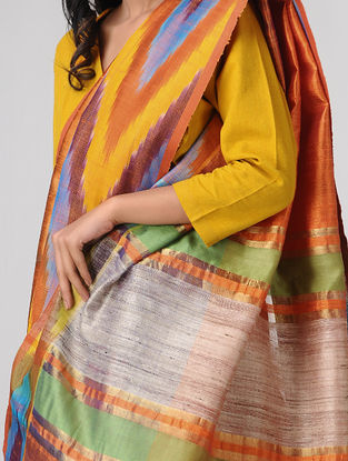 Orange-Yellow Ikat Ghicha Tussar Dupion Silk Bhagalpuri Saree