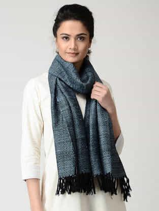 Black-Blue Wool-Silk Stole