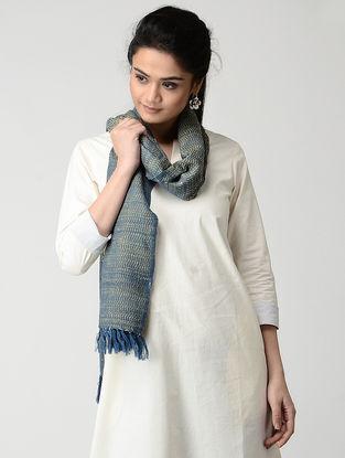 Beige-Blue Wool-Silk Stole