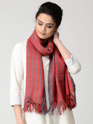 Red-Grey Wool-Silk Stole
