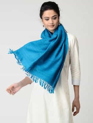 Blue Wool-Silk Stole