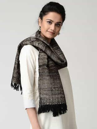 Black-Beige Wool-Silk Stole