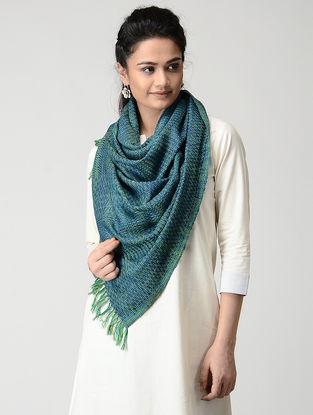 Blue-Green Wool-Silk Stole