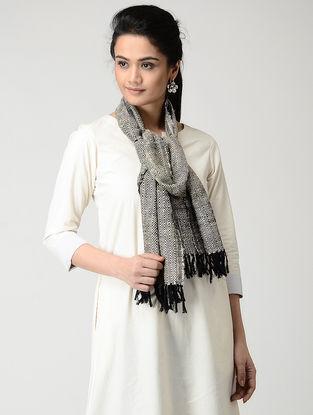 Ivory-Black Wool-Silk Muffler