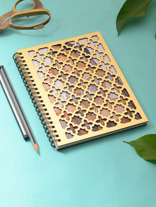 Gold-Multicolored Notebook with Taj Mahal Inspired Cutwork Cover