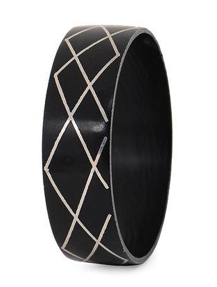 Black Silver Bangle with Bidri Work (Bangle Size -2/4)