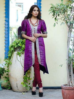 Lavender Fine Zari Border Silk Vintage Jacket by Bina Ramani