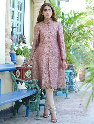 Rose Pink Pitambari Brocade Vintage Unisex Sherwani by Bina Ramani