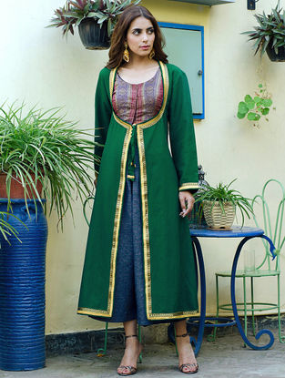 Green Zari Border Angrakha Style Silk Vintage Long Jacket by Bina Ramani