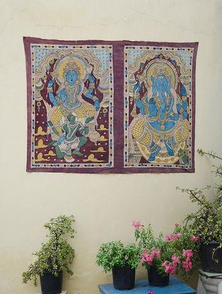 Limited Edition Kalamkari Art depicting Lakshmi Ganesh by Bina Ramani