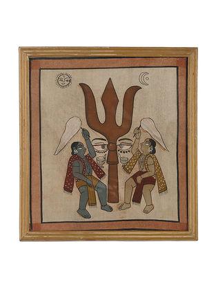 Limited Edition Vintage Kalpasutra Jain Ancient Illustration Framed Art Work-11.2in x 10.2in x 0.5in