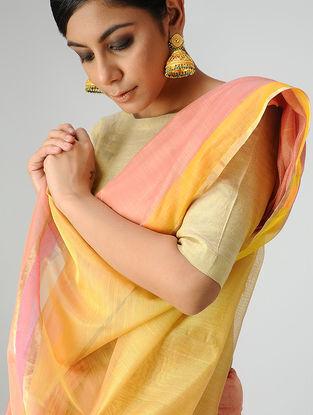 Pink-Yellow Chanderi Saree with Zari