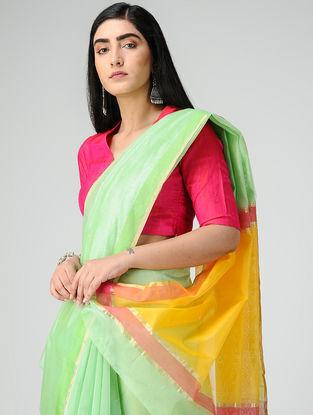 Green-Yellow Chanderi Saree with Zari